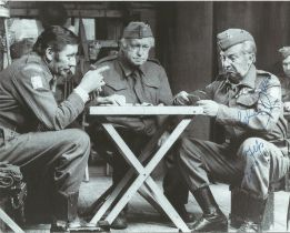 Dads Army Clive Dunn signed 8 x 6 inch b/w photo playing cards