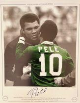 Football Brazil Legend Pele Signed Photo Kissing Muhammad Ali