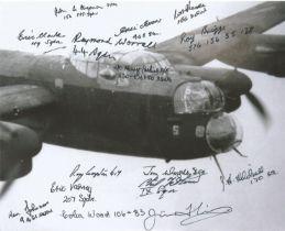 WW2 Multiple signed Lancaster Bomber in flight 10 x 8 photo 15 RAF autographs