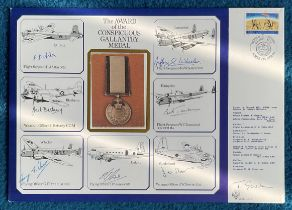 WW2 rare Dambuster Bill Townsend multiple signed RAF Medal cover