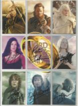 Lord of the Rings signed Trading card collection of 9 Return of the King