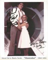James Bond Richard Kiel and Blanche Ravalec signed 10 x 8 inch colour photo.