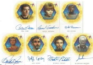 Star Trek 35 signed trading card collection. Seven cards in mint condition