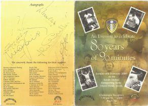 1970 Leeds Footballers multiple signed 80th Ann Dinner Programme