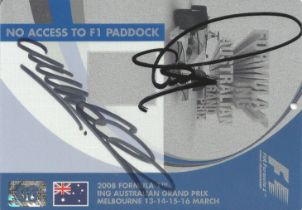 F1 Lewis Hamilton and Mark Webber signed 2008 Australian GP Plastic Pass approx. 6 x 4 inches.