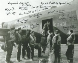 WW2 Multiple signed Lancaster Bomber crewing up 10 x 8 photo 12 RAF autographs
