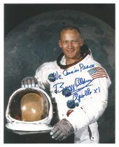Apollo XI Buzz Aldrin signed 10 x 8 inch White Space Suit photo rare inscription
