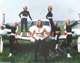 Honor Blackman as Pussy Galore signed 10 x 8 inch colour photo