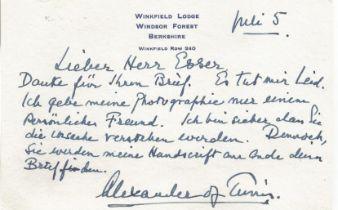 WW2 FM Alexander of Tunis hand written not on persona card