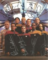 Star Trek Voyager photo signed by 9 cast members