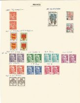 France, 1946/1977, stamps on loose sheets, approx. 50. Good condition. We combine postage on