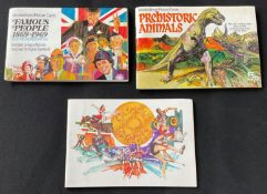 3 Albums Brook Bond Tea Cards, Prehistoric Animals, Famous People 1869-1969, Olympic Games (blank