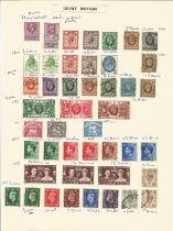 Great Britain, George V, Edward VIII, George VI, stamps on loose sheet, approx. 40. Good