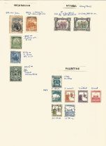 Nicaragua, Nyasa, Palestine, stamps on loose sheet, approx. 10. Good condition. We combine postage