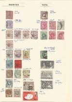Mauritius, Natal, Nigeria, North Borneo, Basutoland, stamps on loose sheets, approx. 40. Good