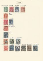 Chile, Colombia, Costa Rica, stamps on loose sheets, approx. 50. Good condition. We combine