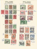 Kenya Uganda Tanganyika, stamps on loose sheet, 1903/1954, approx. 35. Good condition. We combine