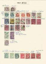 Great Britain, Queen Victoria and King Edward VII, stamps on loose sheet, approx. 30. Good