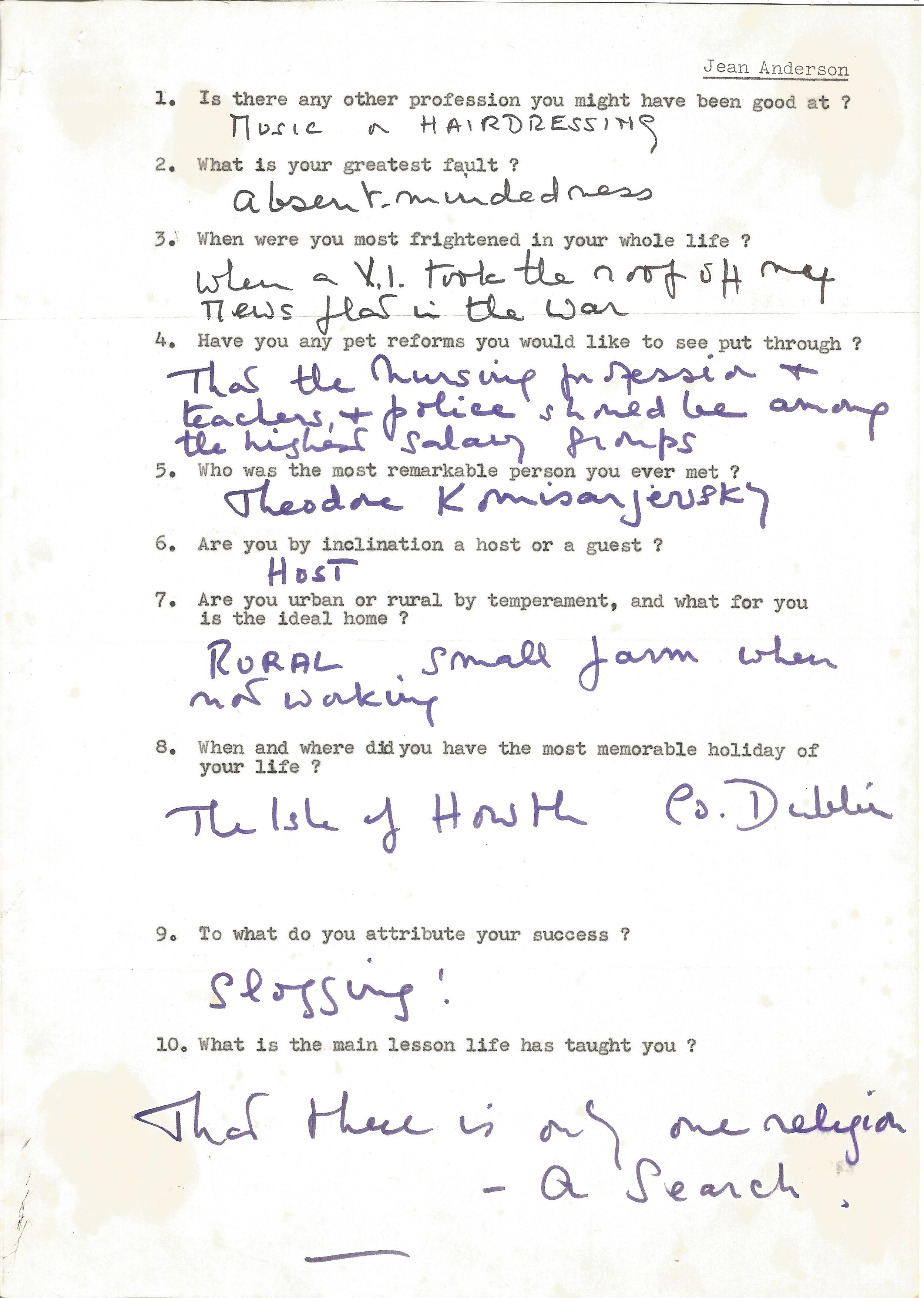 Actress Jean Anderson, brief handwritten replies on a questionnaire from a fan asking a variety of