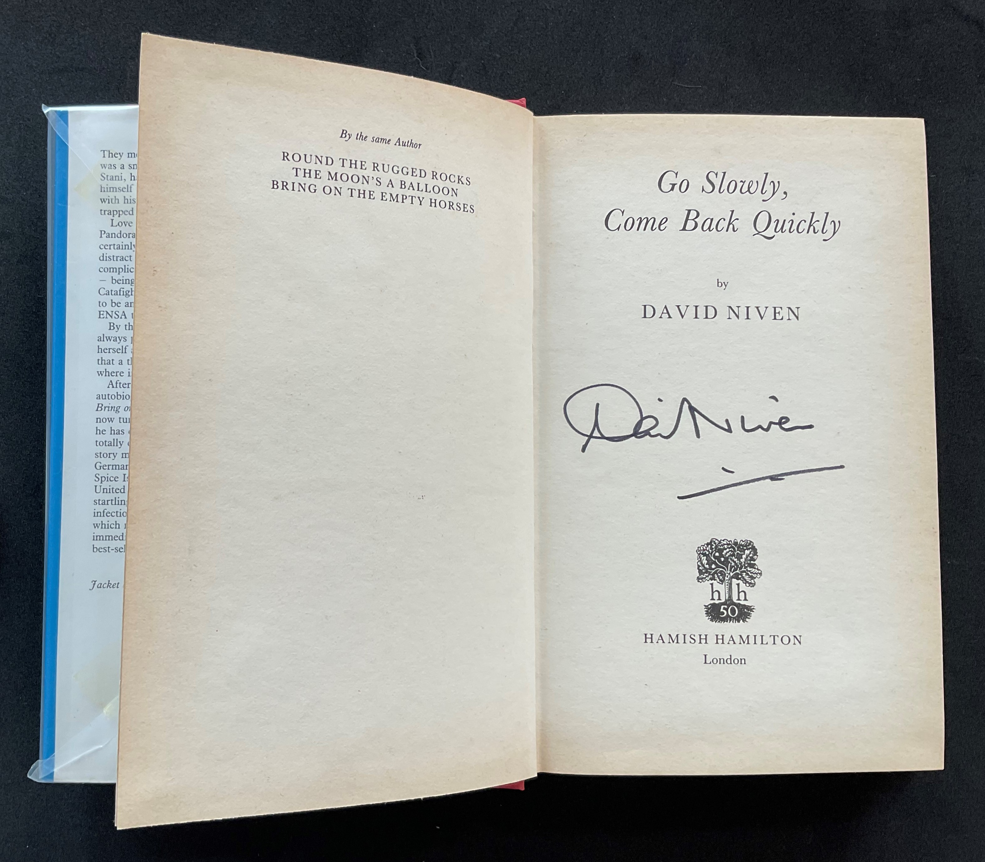 Actor David Niven book Go Slowly, Come Back Quickly, signed by Niven on the title page. James David - Image 2 of 3