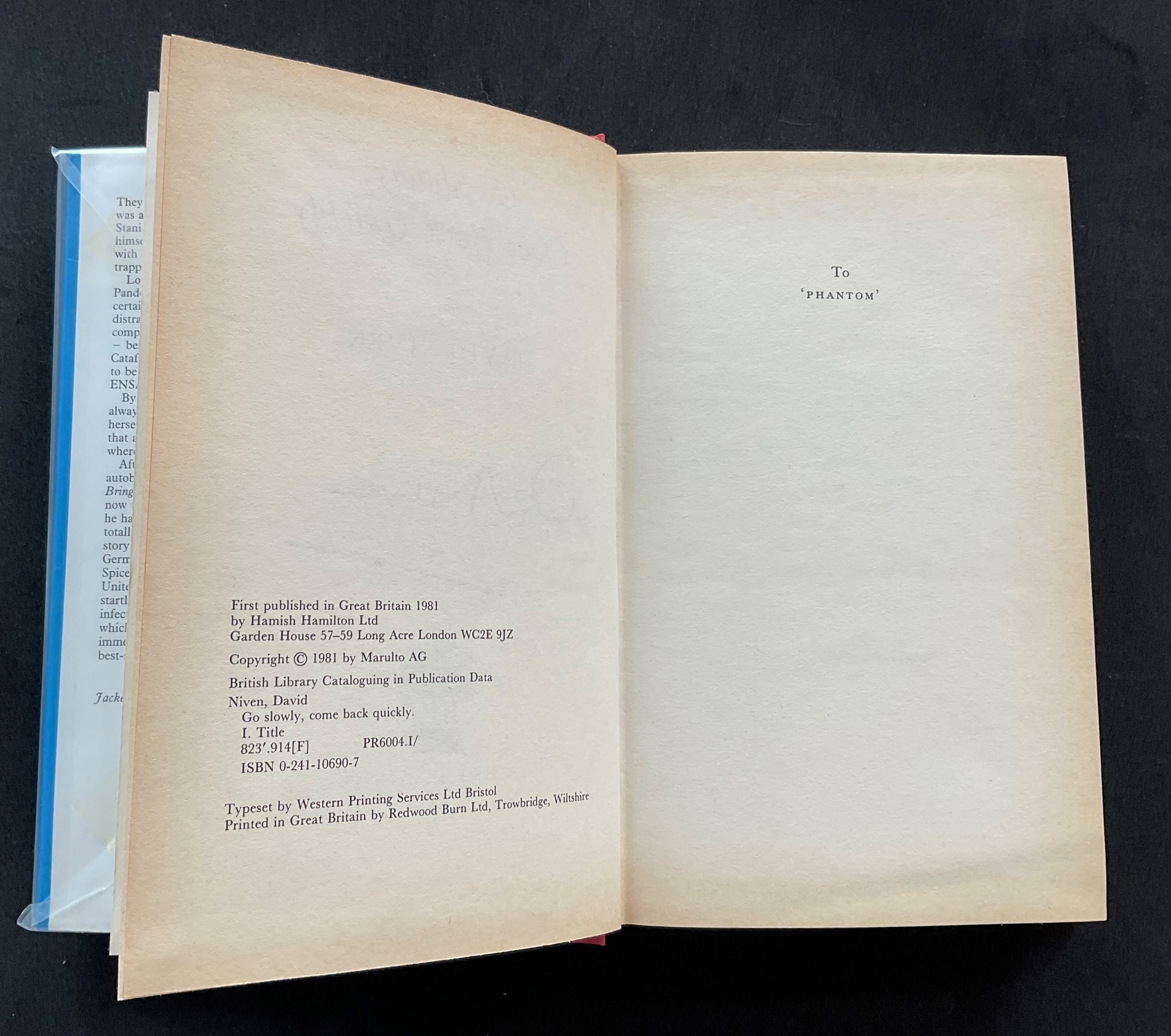 Actor David Niven book Go Slowly, Come Back Quickly, signed by Niven on the title page. James David - Image 3 of 3