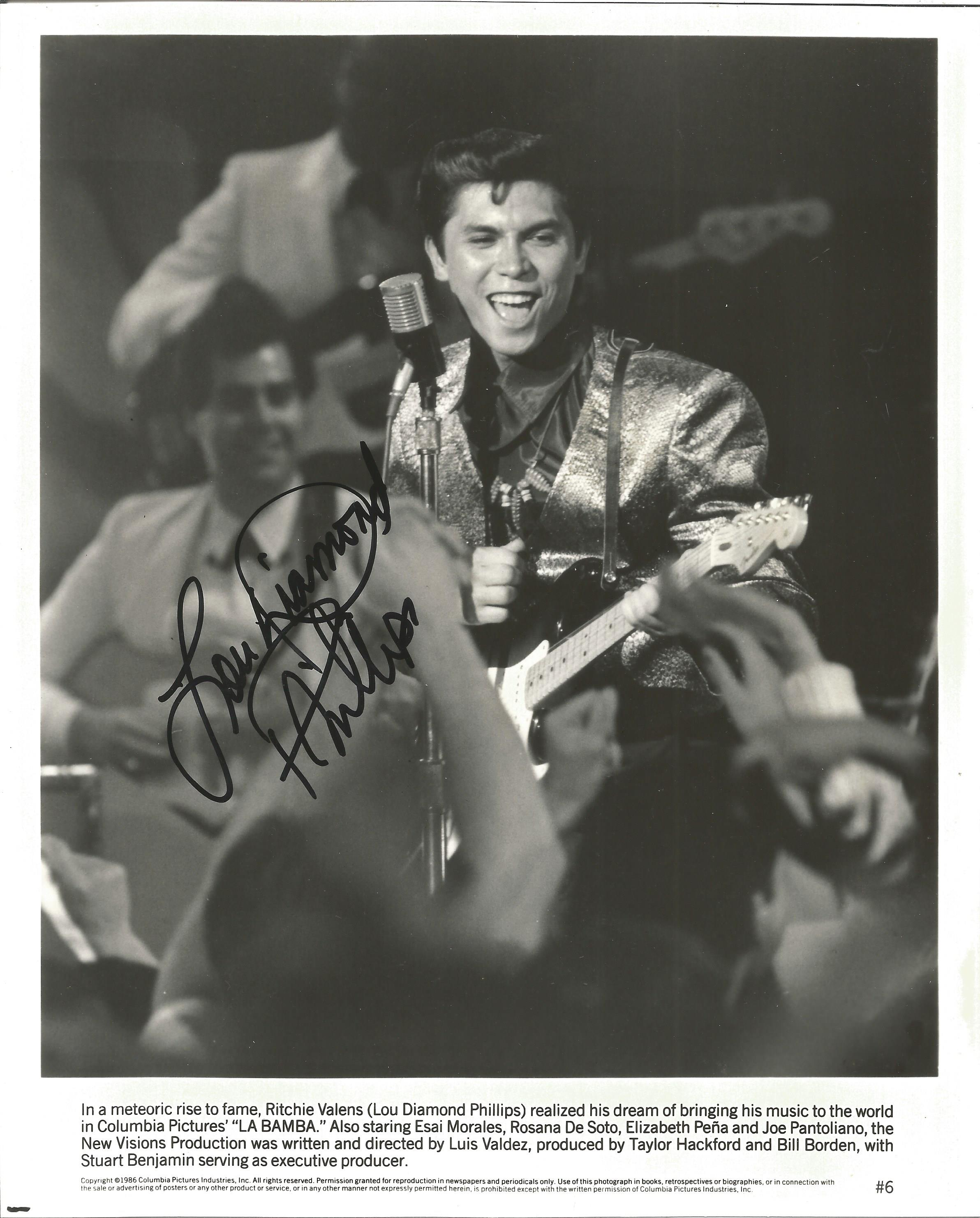 Actor Lou Diamond Phillips signed 10x8 black and white promotional photograph as Ritchie Valens in