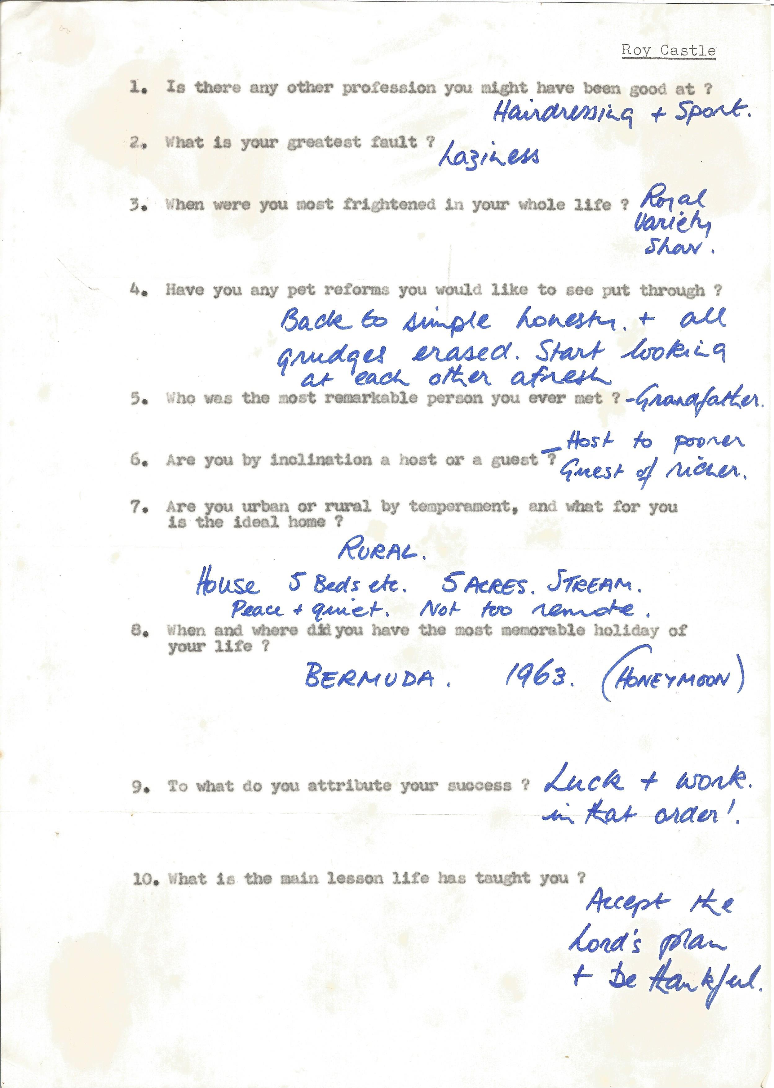 Entertainer Roy Castle, brief handwritten replies on a questionnaire from a fan asking a variety