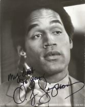 American former football running back and Actor O J Simpson 10x8 signed black and white image from