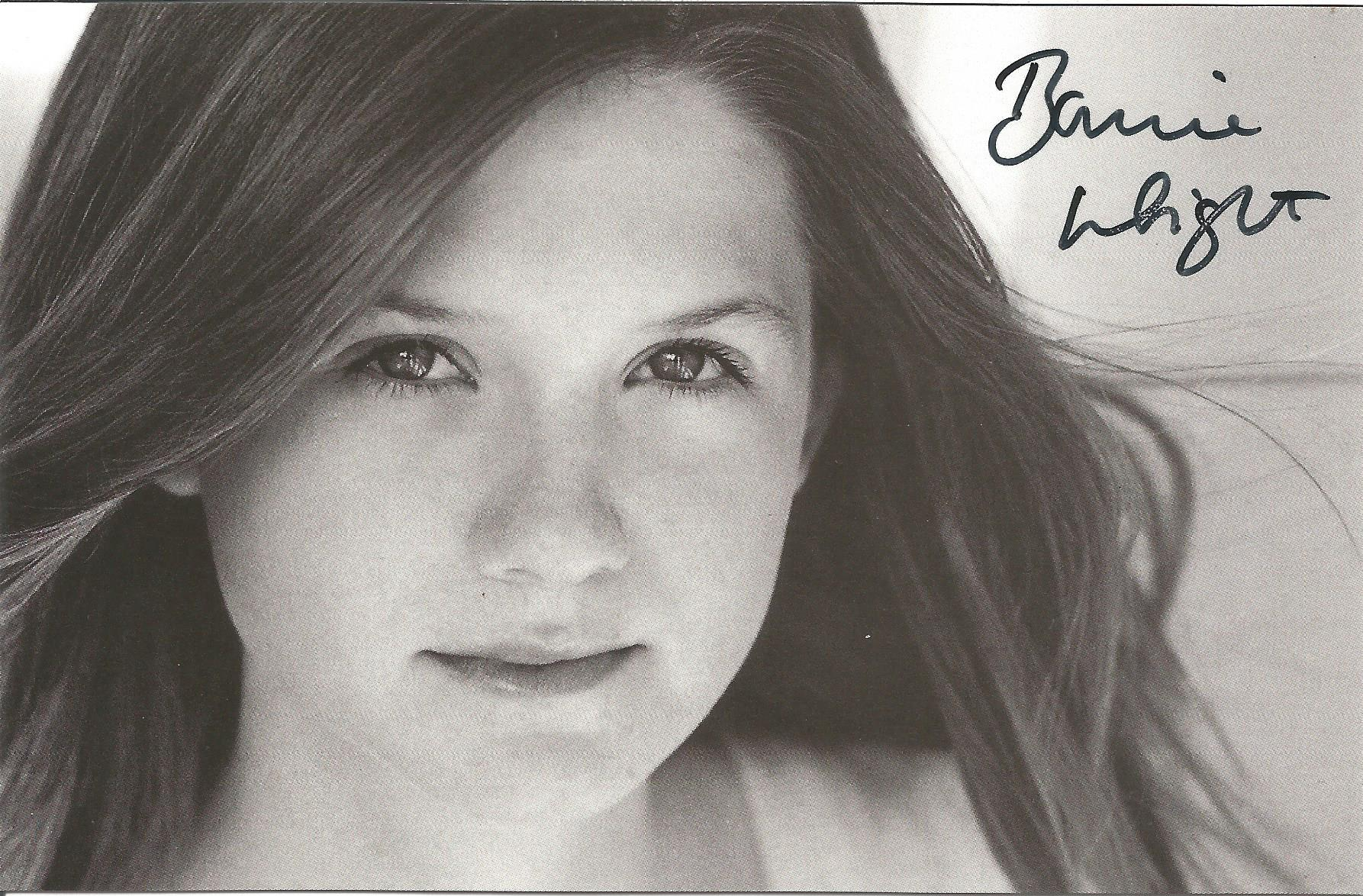 Actress Bonnie Wright signed 6x4 black and white photo with typed message to verso stating she is