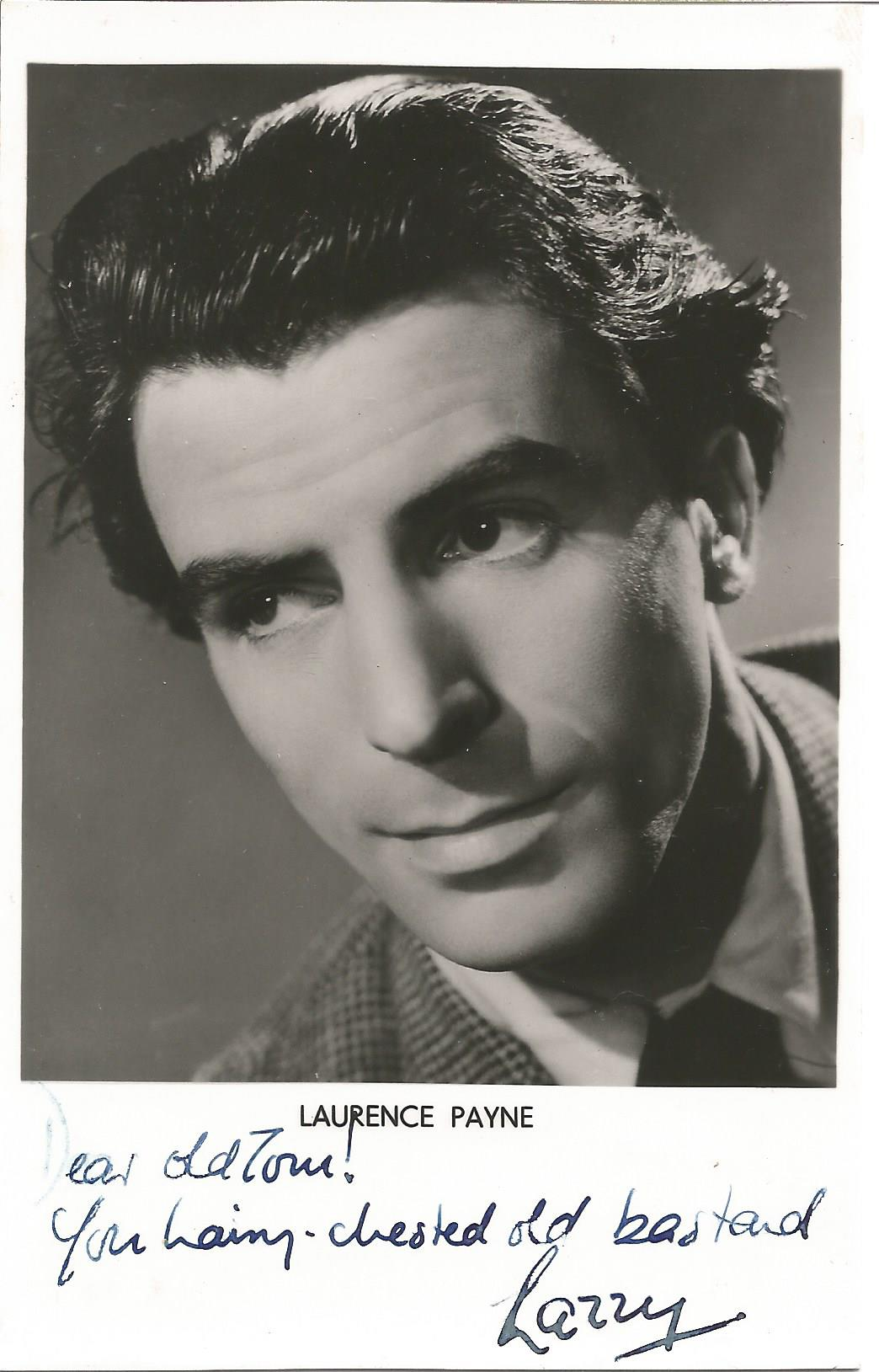 Actor Laurence Payne vintage signed 5½x3½ black and white photo, dedicated to Tom. Laurence