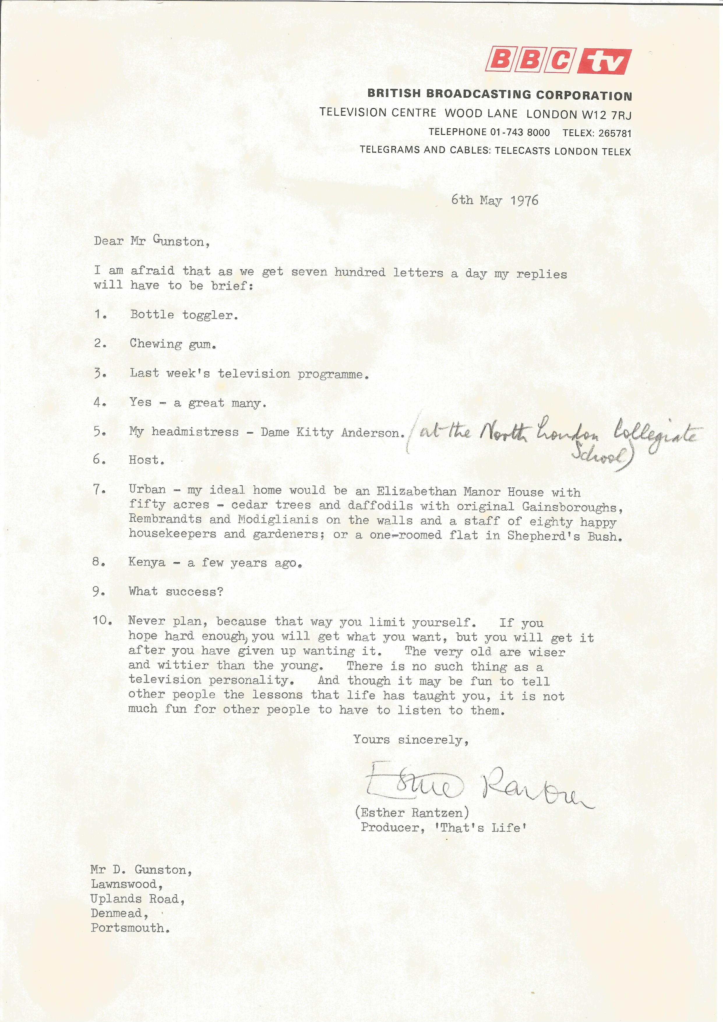 Presenter Esther Rantzen signed and dated BBC headed paper in response to a fan, together with a - Image 2 of 2