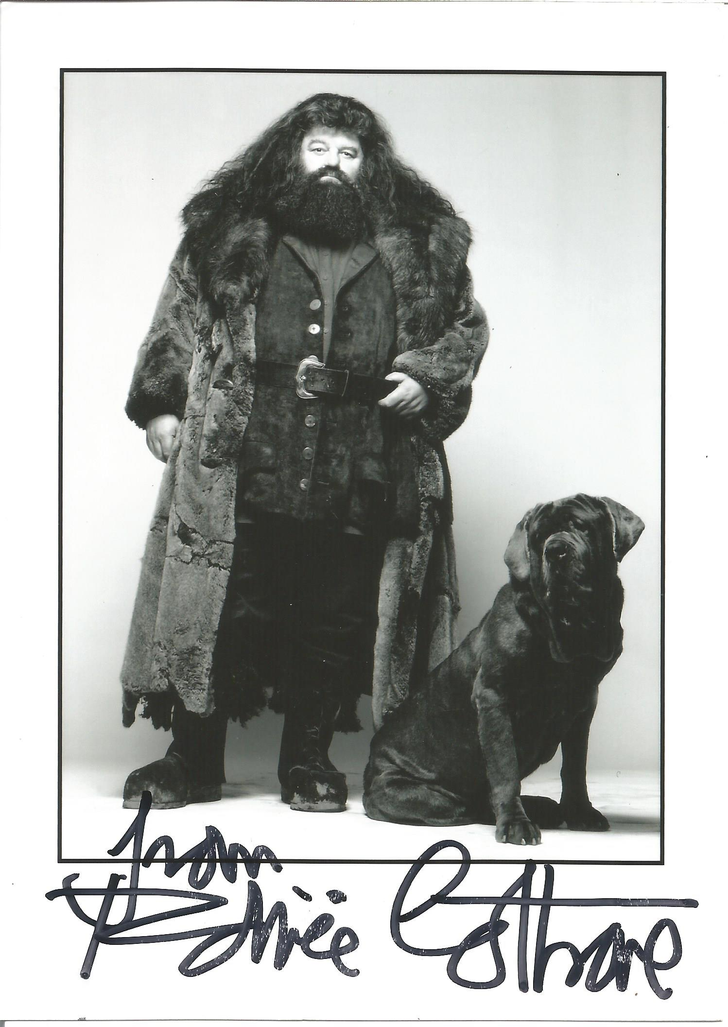 Actor Robbie Coltrane signed 7x5 colour photo in character as Hagrid from the Harry Potter film