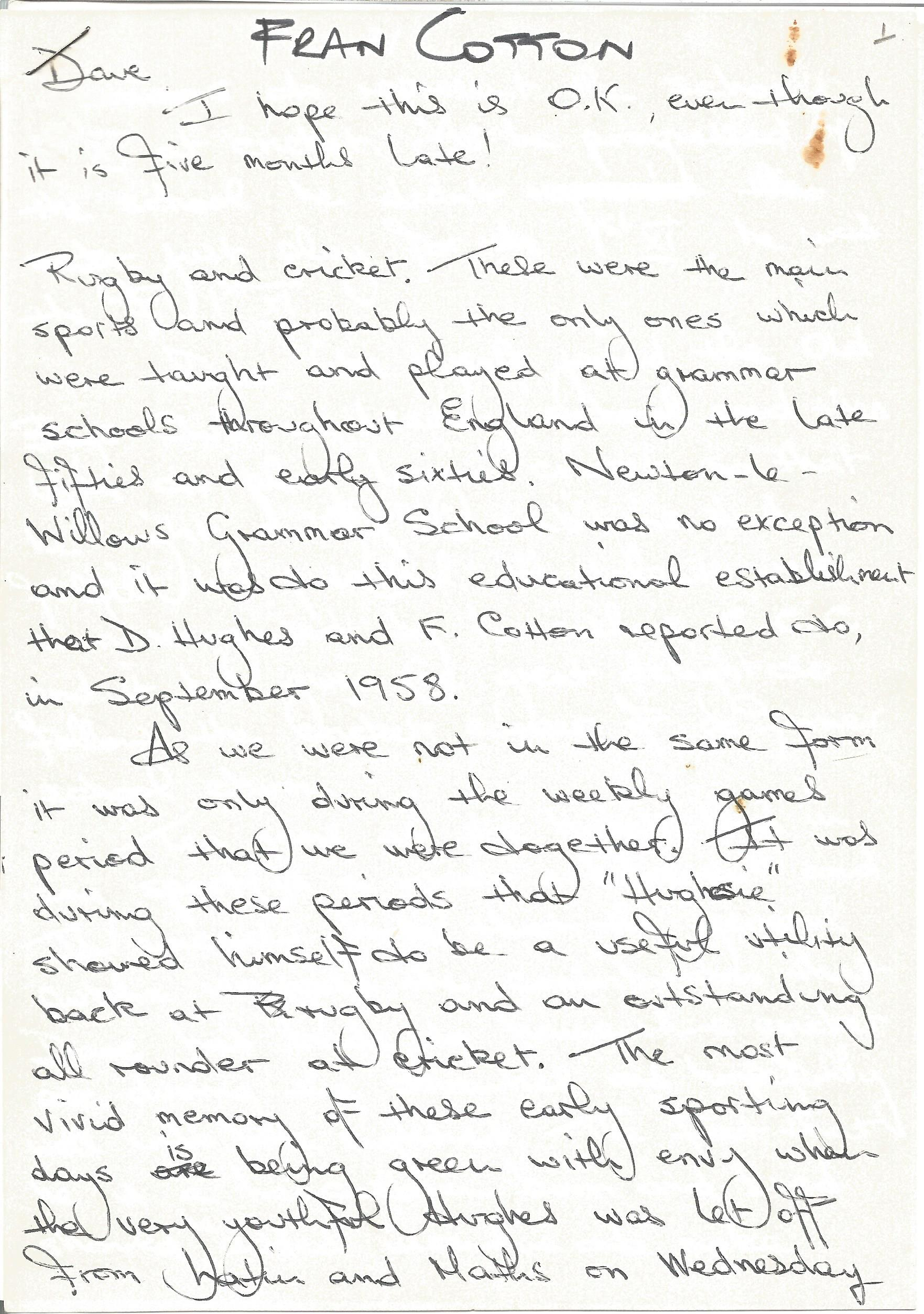 Rugby Player Fran Cotton, 3-page handwritten article for the testimonial brochure of Lancashire
