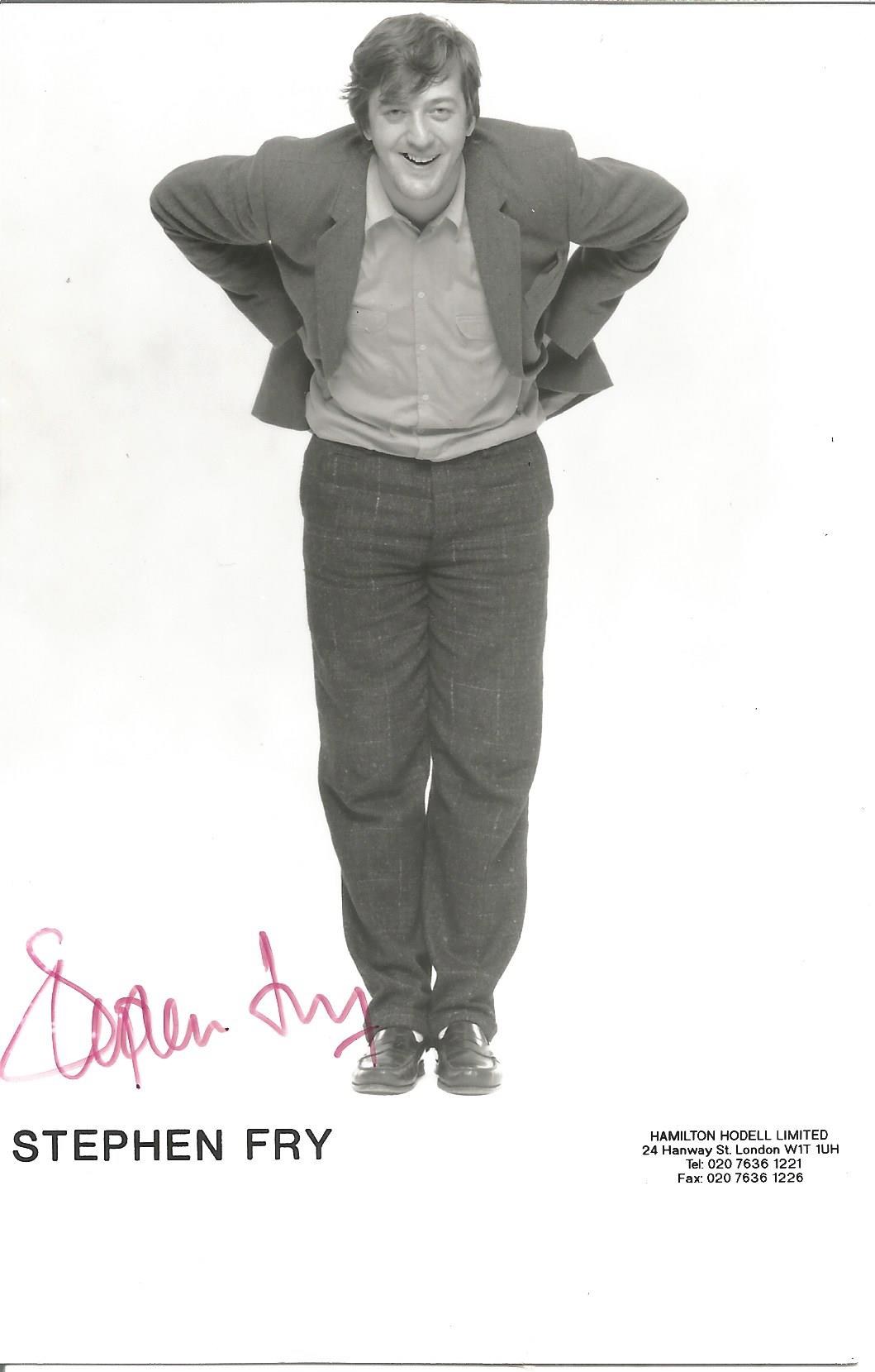 Actor Stephen Fry signed 5½x3½ colour photo. Stephen John Fry born 24 August 1957 is an English