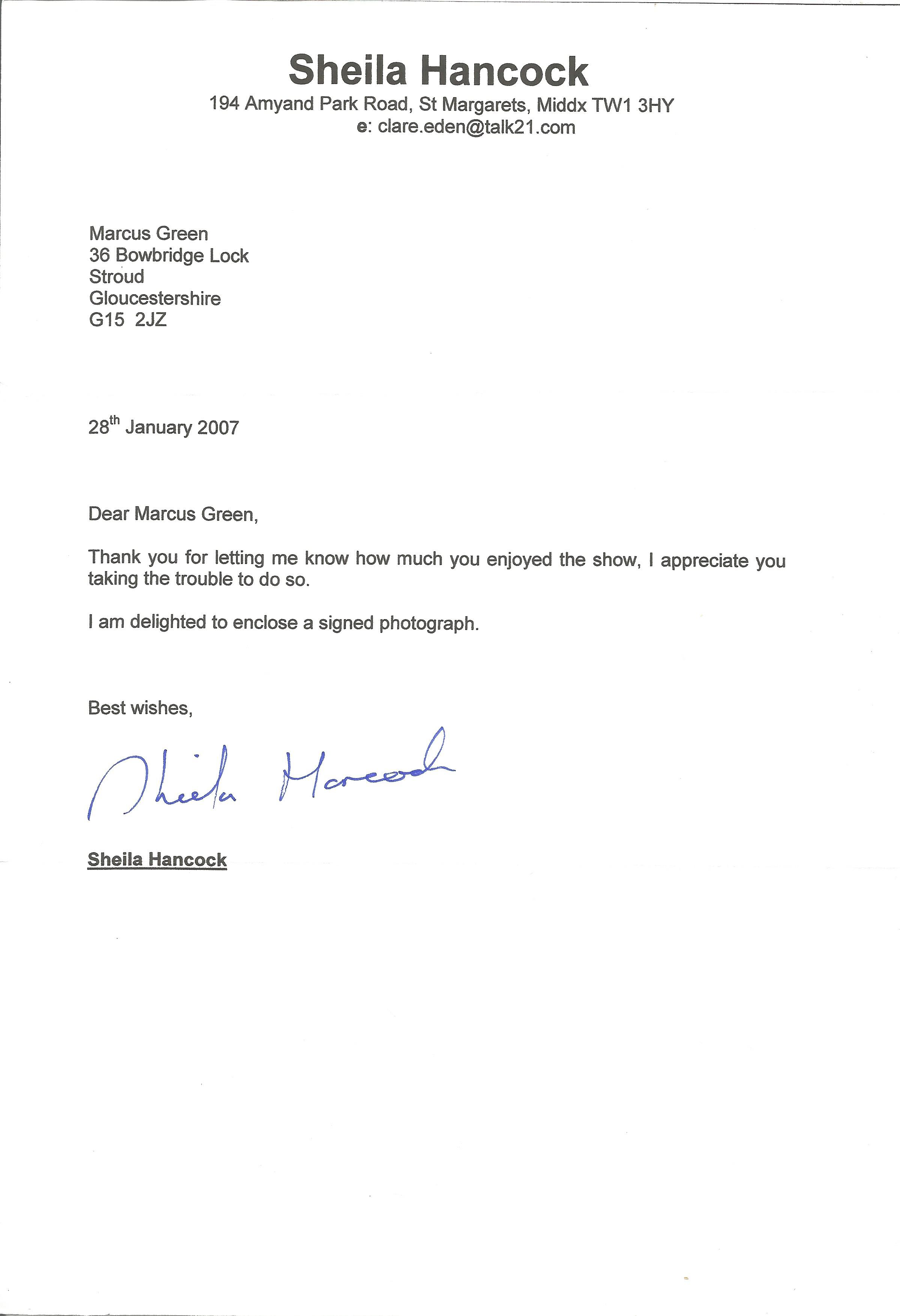 Actress Sheila Hancock, brief letter signed and dated on her headed paper enclosing a signed
