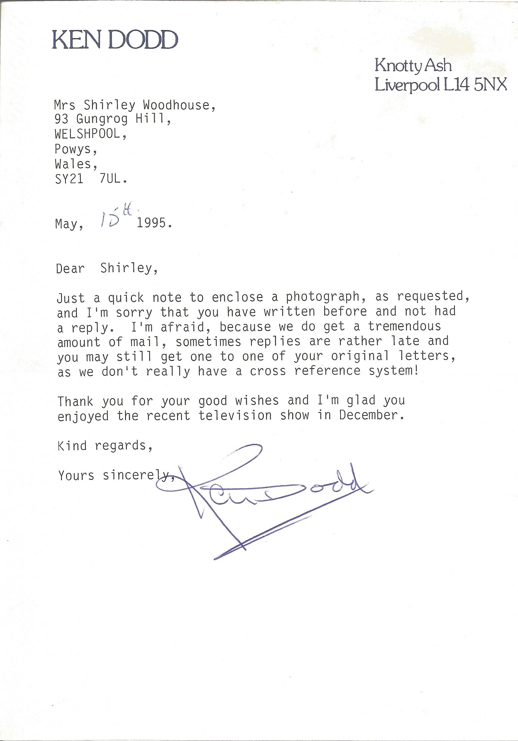 Comedian Ken Dodd signed and dated headed paper apologising for his late reply and sending a
