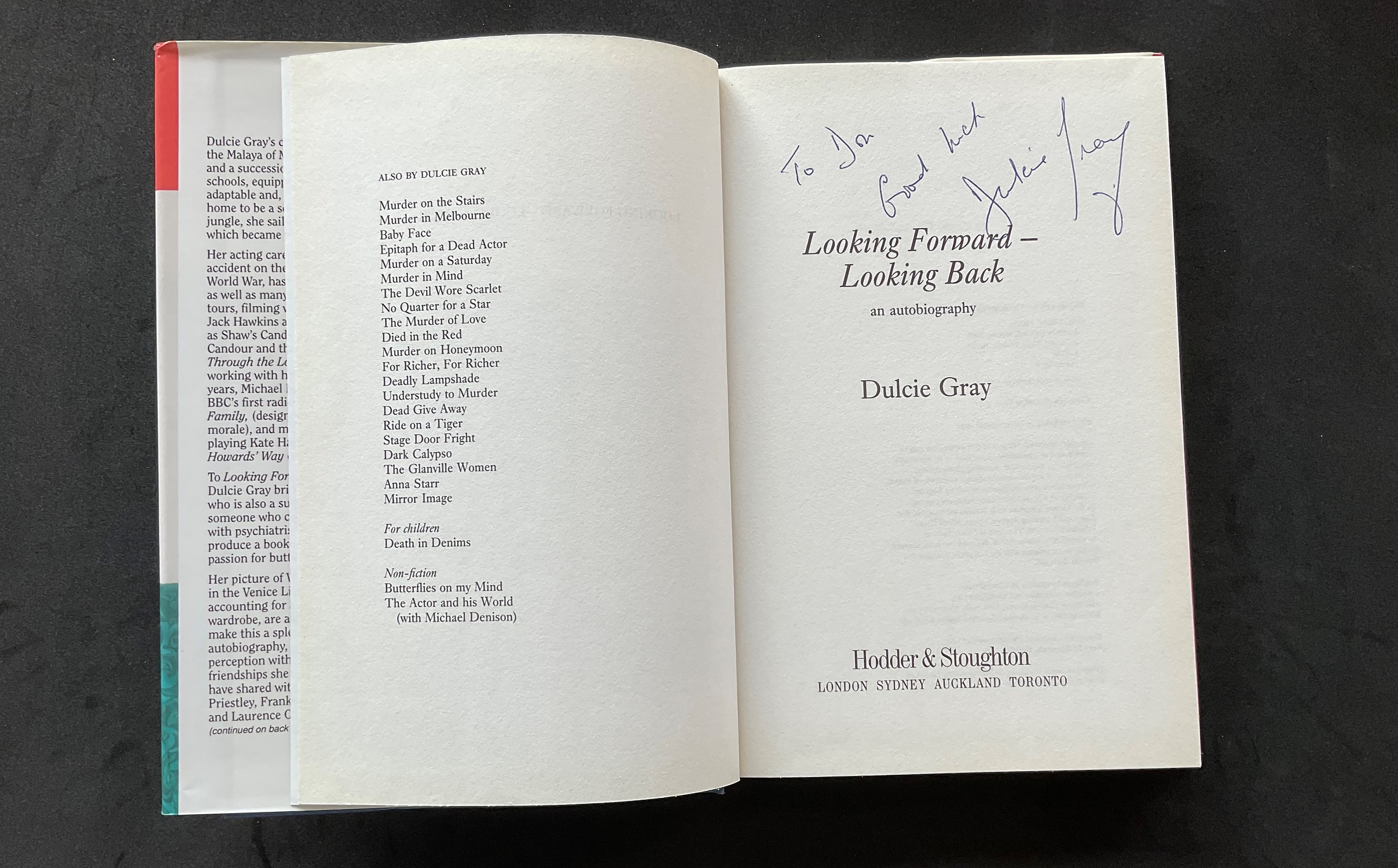 Actress Dulcie Grays autobiography Looking Forward, Looking Back, signed and dedicated to Don. - Image 2 of 3