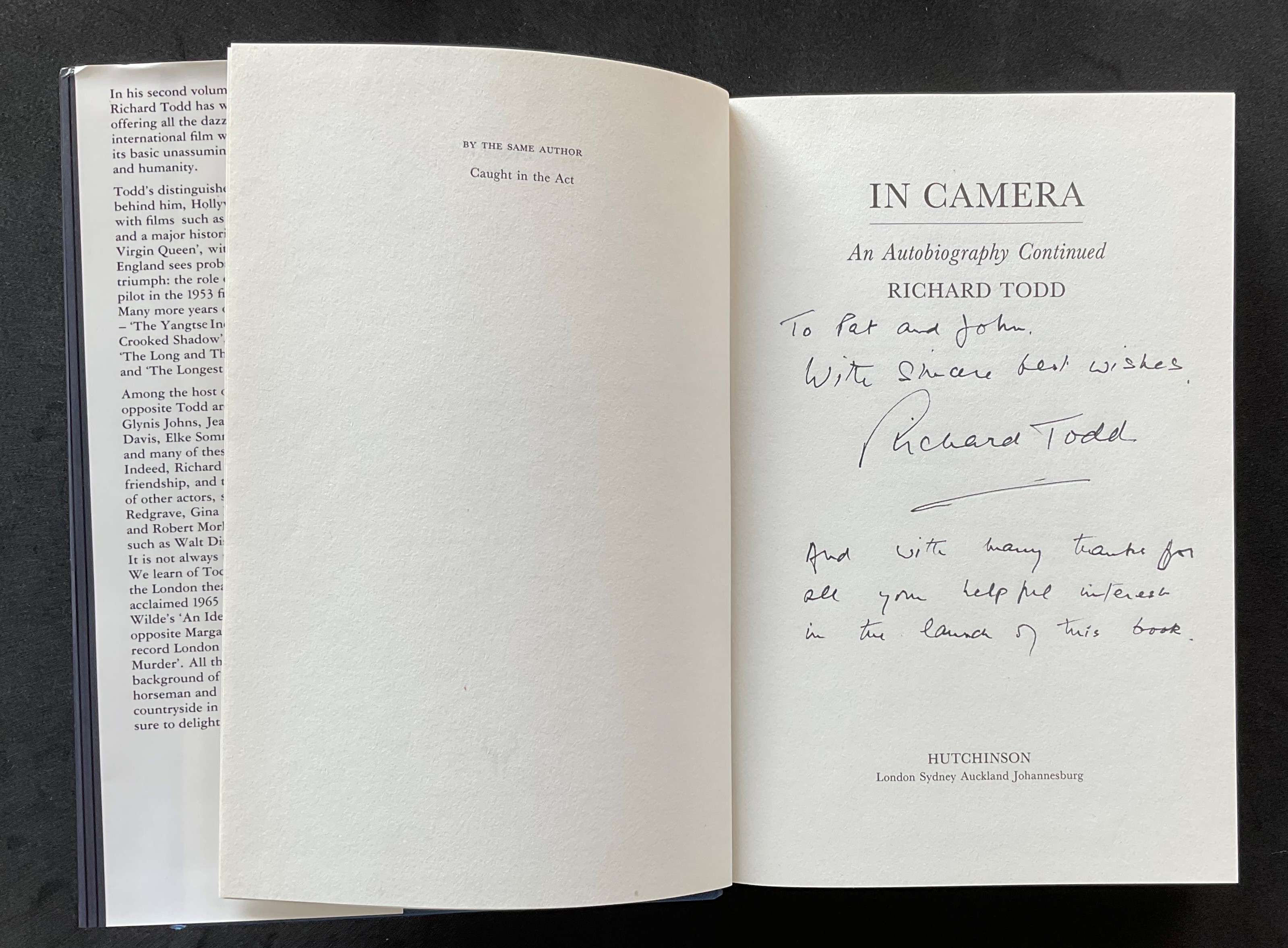Actor Richard Todd's autobiography In Camera, signed, with nice inscription, dedicated to Pat and - Image 2 of 3