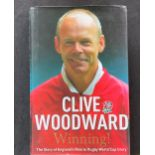 Rugby Player Clive Woodward's autobiography Winning! signed hardback copy. Sir Clive Ronald Woodward