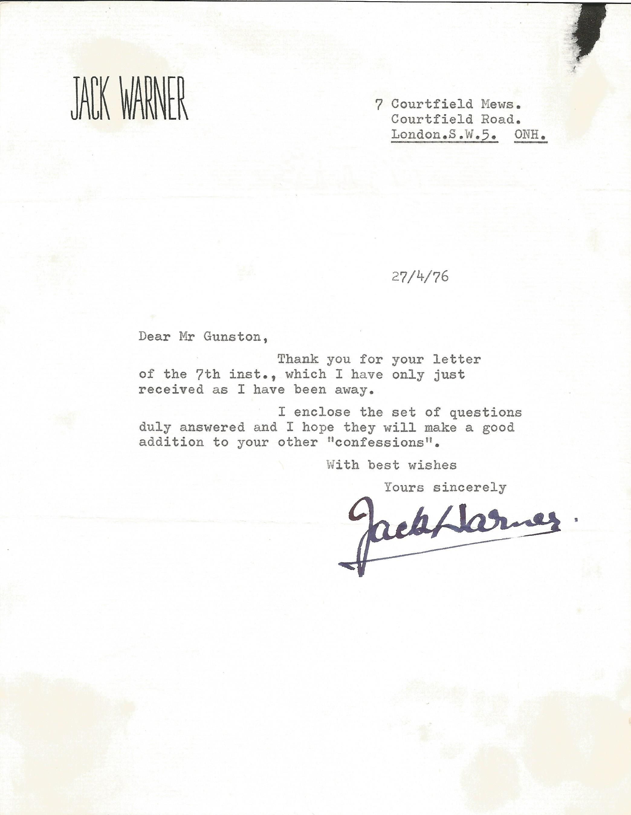 Actor Jack Warner signed and dated headed paper enclosing the answers to a questionnaire he was sent