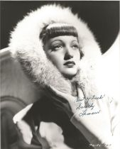 Actress Dorothy Lamour signed 10x8 vintage black and white photo.