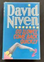 Actor David Niven book Go Slowly, Come Back Quickly, signed by Niven on the title page. James David