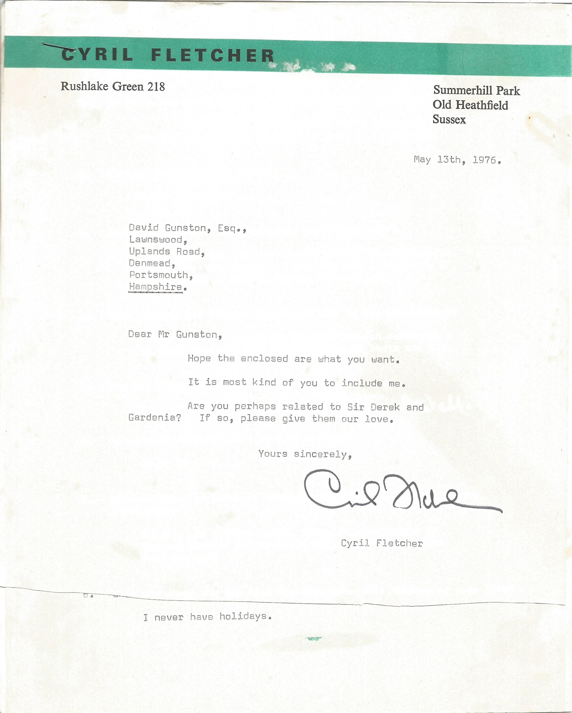 Comedian Cyril Fletcher - signed and dated headed paper in response to a fan, together with 2