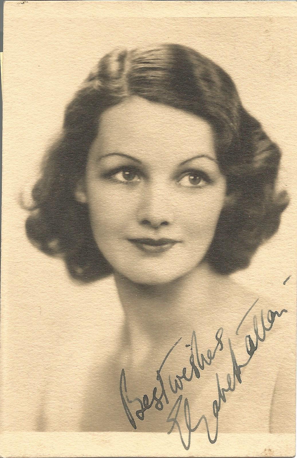 Actress Elizabeth Allan vintage signed 5x3½ black and white image. Elizabeth Allan was an English