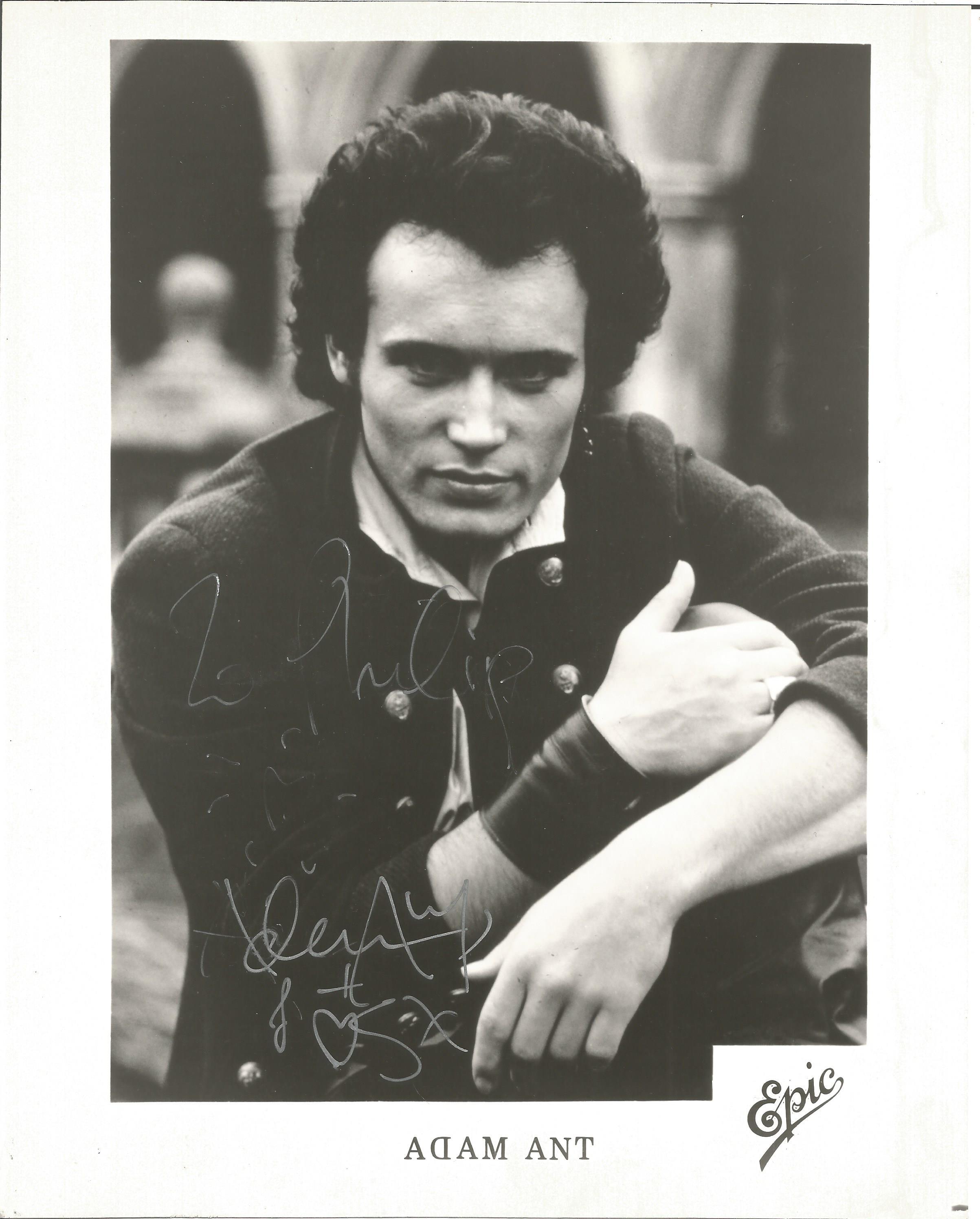 Musician Adam Ant signed 10x8 black and white image, dedicated to Phillip. Stuart Leslie Goddard,