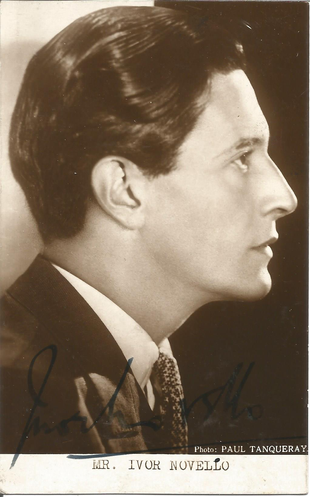 Composer and Actor Ivor Novello signed vintage black and white 5½x3½ image Welsh composer and actor