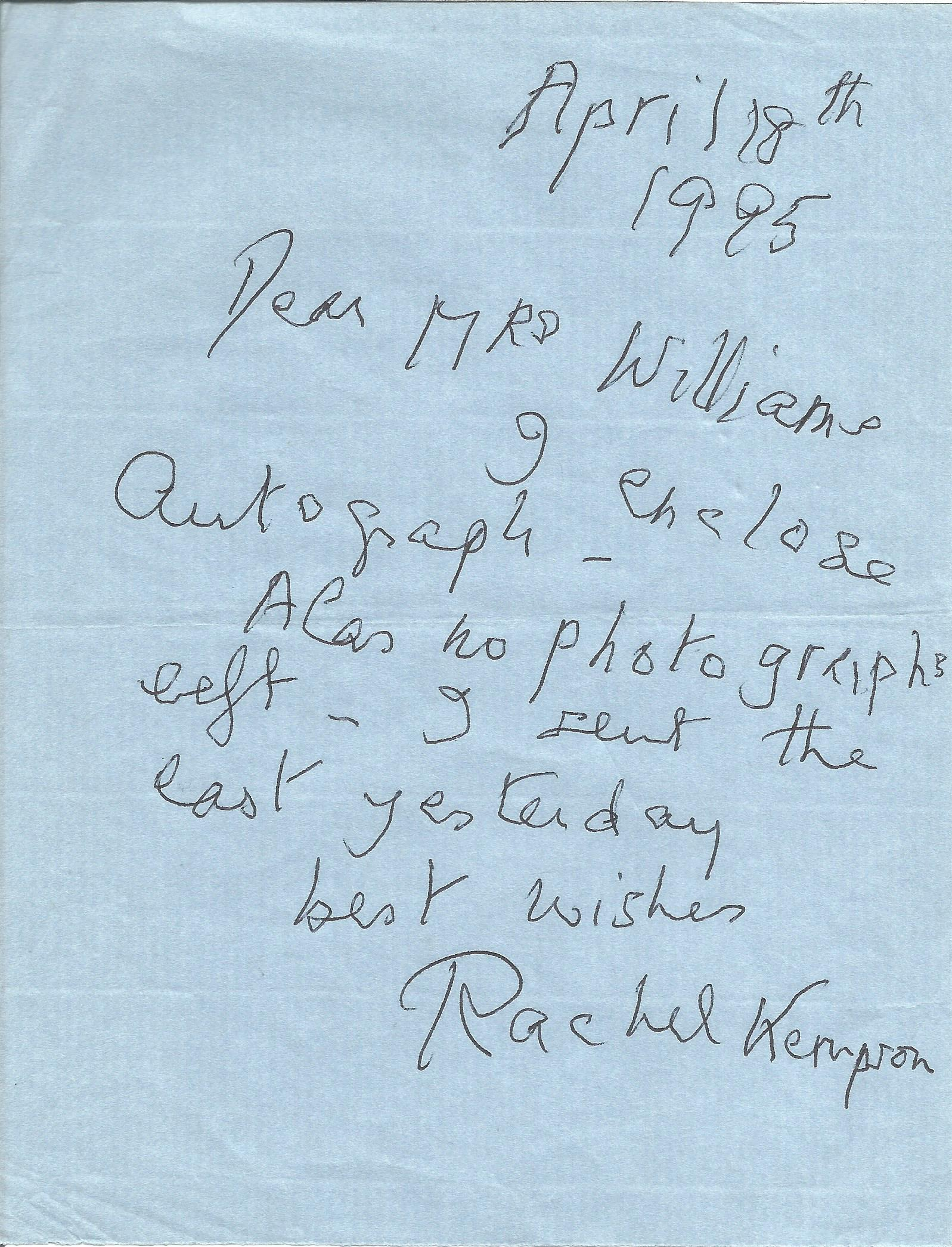 Actress Rachel Kempson, brief signed dated letter enclosing an autograph not present. Rachel, Lady