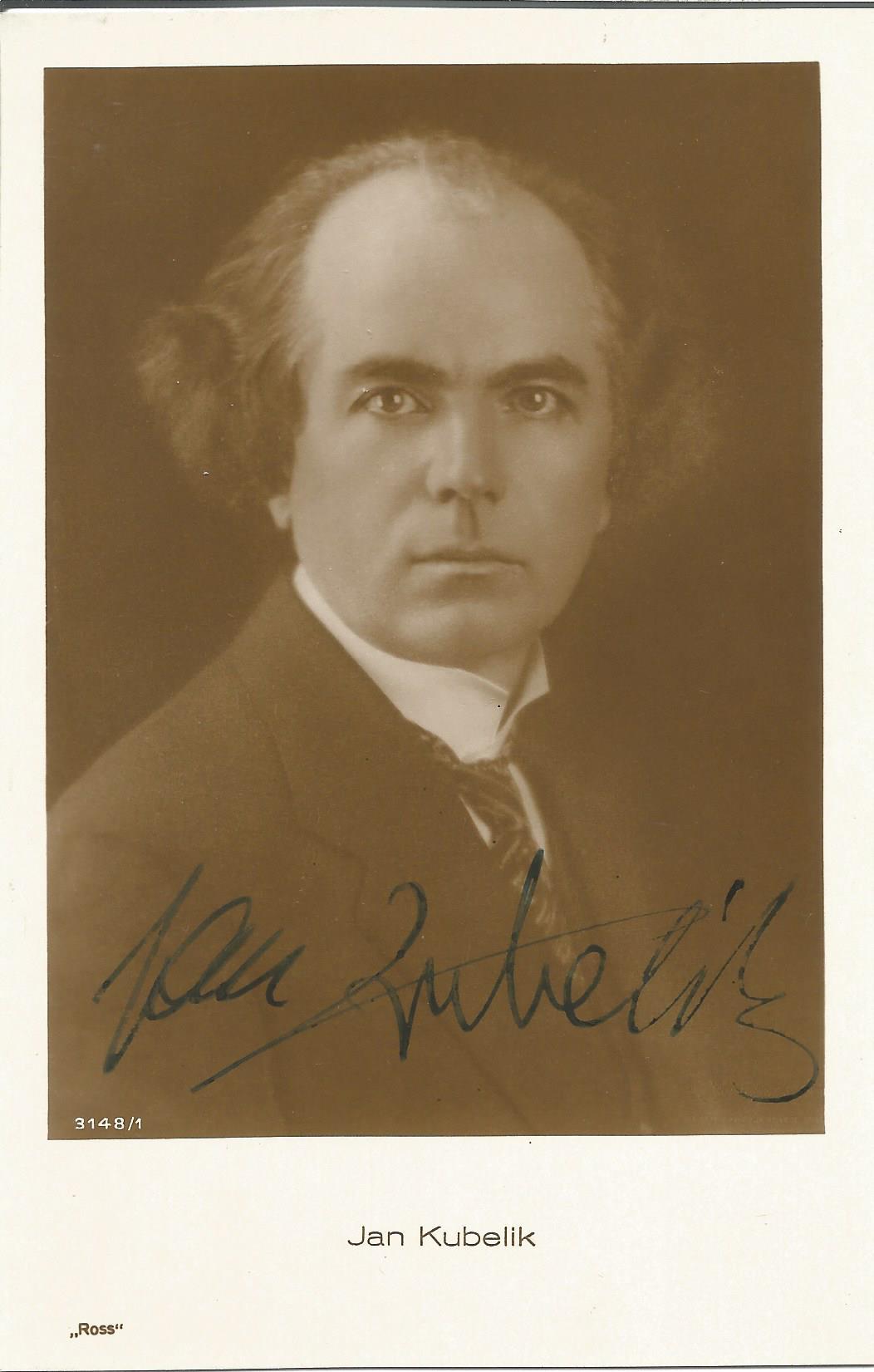 Violinist Jan Kubelik signed vintage 5½x3½ black and white postcard. Jan Kubelík 5 July 1880 - 5