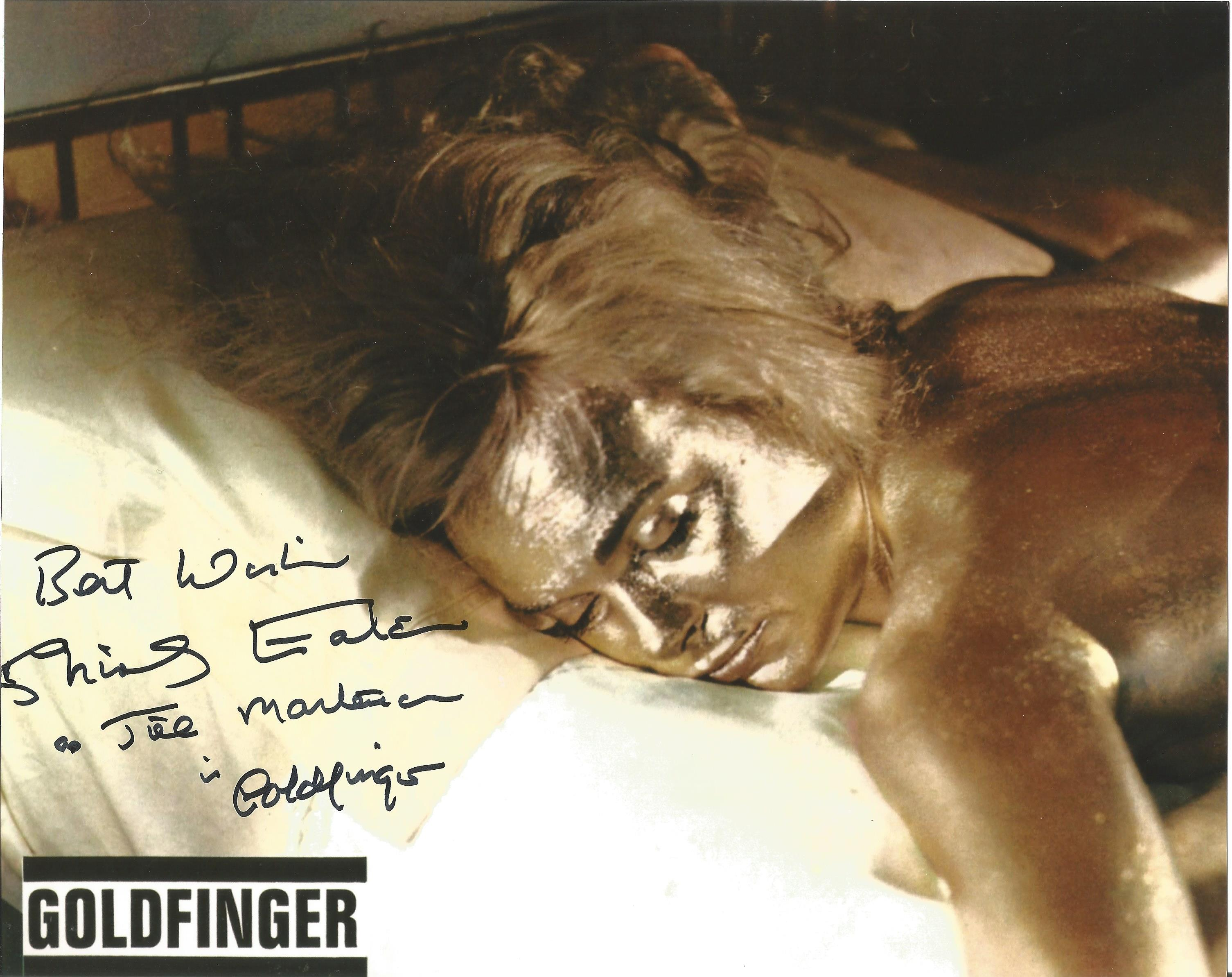 Actress Shirley Eaton 10x8 signed colour photo Goldfinger image. Shirley Eaton is an English