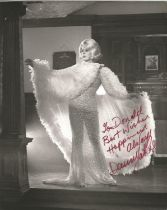 Singer Danny La Rue, signed 10x8 black and white photo in drag, dedicated to Donald, inscribed